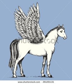 Gorgeous elegant pride white Pegasus with long tail and outspread large wings. Vector monochrome freehand ink drawn background sketchy in art scribble antique style pen on paper with space for text - stock vector