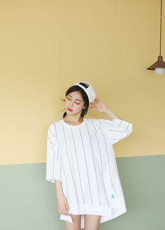 "miuroll: "" ziz-zag stripe long top 30,000원 """