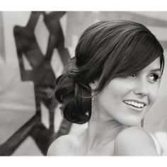 wedding hair from front, swept bang & low bun