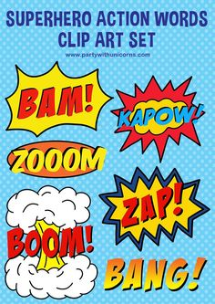Superhero Action Words Clip Art - Superhero Clip Art, Superhero Crafts and Superhero Printables - Superhero Alphabet, Superhero Clipart, Superhero Gifts, Superhero Poster, Alphabet Letters, Superhero Classroom, Classroom Labels, Superhero Party Invitations, Superhero Birthday Party