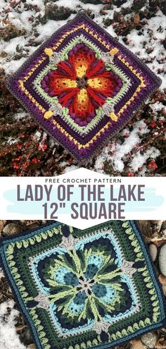 Lady of the Lake 12 Square Free Crochet Pattern Crochet Squares Afghan, Granny Squares, Granny Square Crochet Pattern, Crochet Blocks, Crochet Blanket Patterns, Crochet Stitches, Free Crochet Square, Crochet Flower Squares, Afghan Patterns