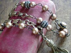 Vintage Watch Chain Pearls Rhinestones and Tassel by WhatOnceWas, $210.00