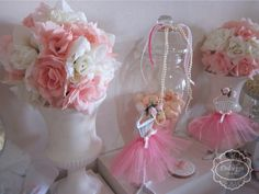 Pink and white decor at a ballerina birthday party! See more party planning ideas at CatchMyParty.com!
