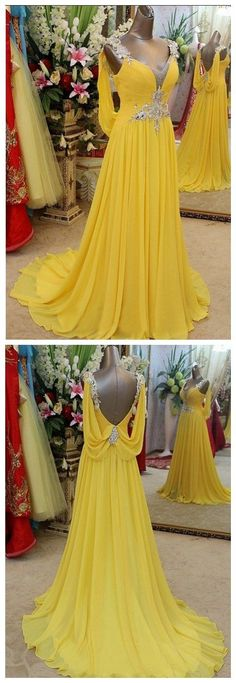 Yellow Prom Dress,Backless Prom Dress,Beaded Prom Dress,Fashion Prom Dress,Sexy Party Dress,Custom Made Evening Dress