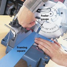 If your miter saw isn't cutting square, the problem is easy to fix. Unplug the saw, loosen the fence bolts, and hold a framing square against the fence and blade.