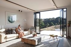 Taiapa Valley Road, Muriwai, belonging to Corban and Alex Walls. New Zealand Herald Photograph by Michelle Hyslop. The Block Nz, Living Spaces, Living Room, Outdoor Furniture Sets, Outdoor Decor, Home Renovation, Building A House, Beach House, House Styles