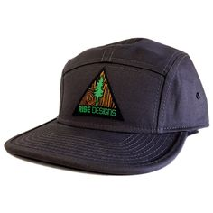 Tree Triangle Camper Hat - 5 panel - Charcoal
