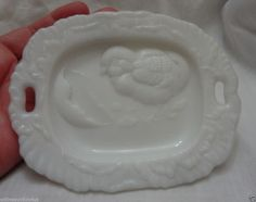 Vintage Victorian Milk Glass Plate Chick Coming out of the egg Easter
