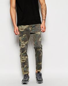 ASOS Slim Chinos With All Over Camo Print