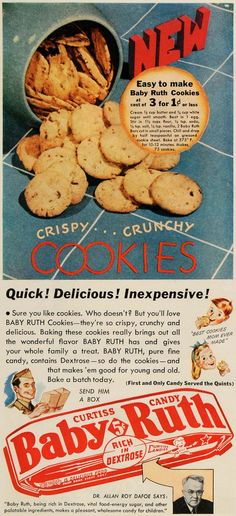 1942 Ad Baby Ruth Curtiss Candy Cookies Dr Allan Dafoe - ORIGINAL GH4
