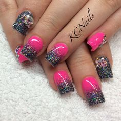 Hot pink and charcoal grey acrylic nails. Solid/reverse fade nails with Swarovski crystal accents  KCNails