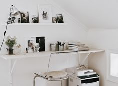 Make the most of awkward spaces - if you need a desk that takes up minimal space, try using a shelf instead | #IKEAIDEAS