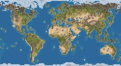 Civilization IV [game] official world map--Robinson projection.