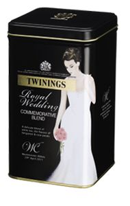 Royal Wedding tea from Twinings: come in blue or black caddy. It's a white Earl Grey with light flavours of rose petal. Just as elegant as Kate! [want this!]