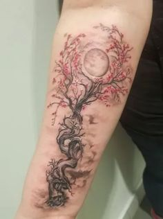 In search for a unique cherry blossom tattoo idea for your next body art piece? Here's a history guide and over 100 examples to inspire you! Tree Sleeve Tattoo, Blossom Tree Tattoo, Tree Tattoo Back, Full Tattoo, Red Ink Tattoos, Mom Tattoos, Body Art Tattoos, Circle Tattoos, Fish Tattoos