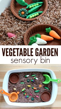 Love this vegetable garden sensory bin! A great hands on activity for spring with preschoolers and toddlers!