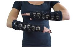 Restyle Gothic Cyber Steampunk Black Arm Warmers Gloves with Buckles