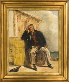 """CONTINENTAL SCHOOL, Early 20th Century, A sailor taking a break to enjoy a pipe., Oil on board, 23"""" x 19"""". Framed 30"""" x 25""""."""