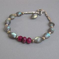 Labradorite Ruby Bracelet Gemstone Sterling Fine by DJStrang