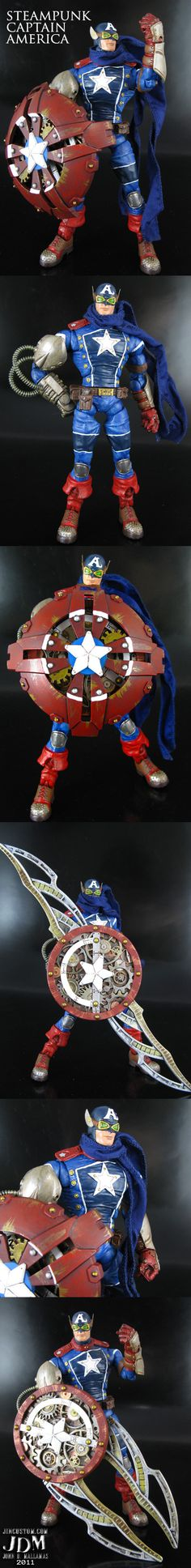 Steampunk Captain America action figure by *Jin-Saotome on deviantART   Follow here http://pinterest.com/cakespinyoface/geekery/ for even more Geekery-- art, tech and more!