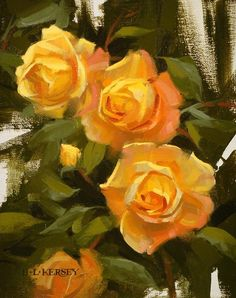 Lovely painting found on the FASO Daily Art Show - Yellow & Orange Rose Study by Laurie Kersey Oil ~ 10 x 8  http://dailyartshow.faso.com/dailyartshow