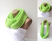 infinity knitted women scarf  women scarf , hand knitted loop circle scarves ,fluorescent  green , Electric Lime,used Rozetti yarn