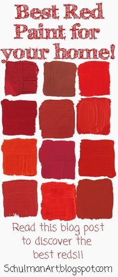 best red paint color for your home decor http://schulmanart.blogspot.com/2014/03/top-ten-picks-for-red-house-paint.html