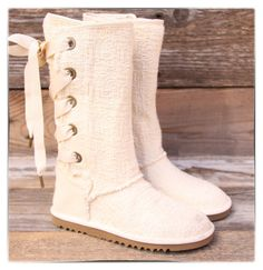 http://fancy.to/rm/460328721996322595   UGG Australia Kids Heirloom Lace Up Weave Natural White Boots