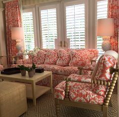 China Seas Island Ikat sofa, chair, and curtains by Cristina Keogh.