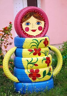 made of tires! поделки из автопокрышек Let's dress up our old tires a la Russe for our backyard play areas.