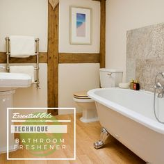 Put a cotton ball soaked in Lime or Lemon oil behind the toilet for a bathroom refresher.