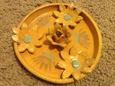 Handmade Clay Yellow and Blue Shallow Bowl with 3D Flowers