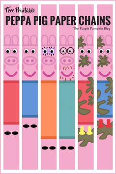 Peppa Pig Party Printables These Peppa Pig Paper Chains are fun and easy to make. Just print as many as you need, cut, and glue in loops to make long chains to decorate your party! Peppa Pig Printables, Party Printables, Free Printables, Easter Printables, Invitacion Peppa Pig, Cumple Peppa Pig, Pig Birthday Cakes, 2nd Birthday Parties, Birthday Ideas