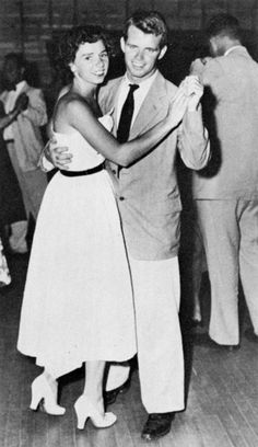 """Ethel & Bobby Kennedy, 1945 - """"It's inspired a photograph that I saw and ugh its a black and white photo. I saw it about two years ago. And this before I knew anything about Robert F Kennedy or Ethel. And I ugh just saw picture. It was these two young kids dancing at a dance. And ugh below it, it said Ethel and Robert Kennedy. 1945 - Age 17. And I wrote this song just based on what I saw in the picture. And its on my new album. Its a song called Starlight.."""" —Taylor Swift"""