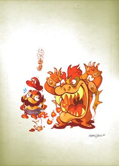 Little Bowser attacks Mario by ~Themrock