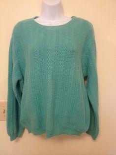 Talbots Wemans Petite Lg Sweater Loose Weave Beautiful Seafoam Green color
