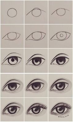 ▷ ideas and inspirations on how to draw eye - drawing-for-beginners-step-by-step-instructions-in-pictures-woman-eye-realitsch - Easy Pencil Drawings, Easy Doodles Drawings, Easy Doodle Art, Art Drawings Sketches Simple, Simple Doodles, Realistic Drawings, Easy Art, Pencil Sketching, Realistic Eye