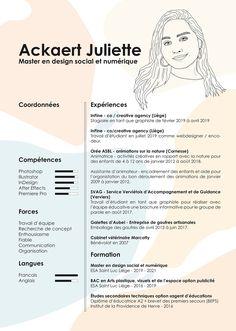 Creative resume / CV of Juliette Ackaert Portfolio Resume, Portfolio Design, Resume Design Template, Resume Templates, Interior Design Resume, Cv Inspiration, It Cv, Design Social, Graphic Design Resume