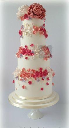 coral blossoms wedding cake | FATCAKES DESIGN