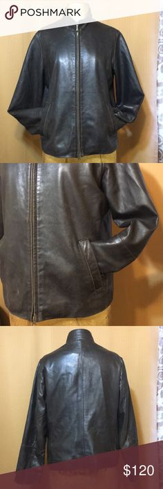 Medium So Soft Lambskin Leather Jacket Eddie Bauer Excellent Condition Lambskin Leather Jacket in Medium The color is like chocolate brown It's by Eddie Bauer so you know it's a good quality Show wear, minimal all through out. The wear adds just a little of  that distressed leather appeal to it. Kind of a rugged tough chic look. Lining is in excellent condition no rips or tears  I almost wanted to keep this for myself.  . . . 4/8/18 Eddie Bauer Jackets & Coats