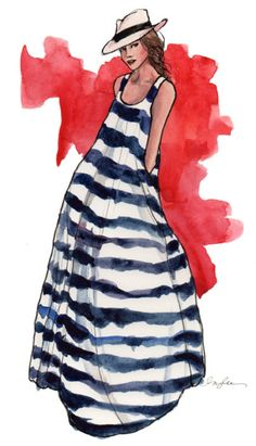 jacques levine Drawing of stripe dress -#nautical