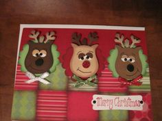 Use the Stampin' Up Owl Punch to make these adorable reindeer.  Very nice card.