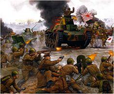 Infanteria sovietica usando el casco modelo 1936 y provistos de AT de 45mm y Maxim se defiende del ataque de una columna de tanques Type 95 «Ha-Go» e infantería equipada con el fusil Arisaka tipo 38 en 1939, tal vez durante la batalla de Khalkhin-Gol. Más en www.elgrancapitan.org/foro/
