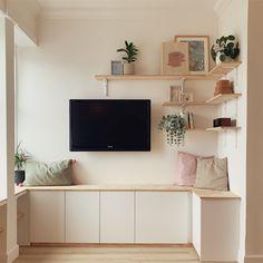 Ikea Kitchen Bench, Ikea Hack Bench, Ikea Hack Storage, Ikea Kitchen Cabinets, Ikea Hacks, Ikea Living Room Storage, Ikea Tv Wall Unit, Ikea Units, Wall Cabinets Living Room