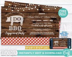 I Do BBQ Invitation Couple's Shower Printable Invite Engagement Party DOWNLOAD Ring Check Lights Red Plain Wood Pig Editable RusticWIDB_026 Printing Websites, Printing Services, Online Printing, Printable Invitations, Printables, Wood Pig, I Do Bbq, Engagement Invitations, Event Page