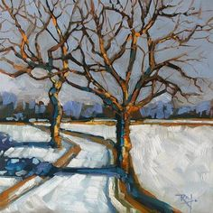 """Daily Paintworks - """"No 700 Throught the trees"""" by Robin J Mitchell"""