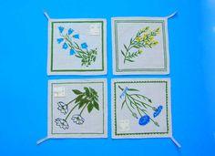 Vintage Swedish Linen Pot Holders Hot Pads Unused Set 4 Wildflower Floral Assorted Designs Kitchen Table Linens Nordiska Kompaniet by DesignsFindsKC on Etsy