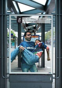 Eine drastische Kampagne hat die Organisation Amnesty International im vergangenem Sommer in der Schweiz durchgezogen. In den Innenstädten hat man Plakate platziert, die den Bürger darauf hinweisen soll, dass hier vielleicht alles i.O. ist, aber woanders auf der Welt die Menschen Krieg, Folter und Hunger über sich ergehen lassen müssen. Das Besondere an den Plakaten ist eigentlich, dass die Szenen so ausschauen, als wenn Sie genau an dem Standardort auch gerade vollzogen werden. It's not ... Amnesty International, Guerilla Marketing, Street Marketing, Social Marketing, Social Campaign, Advertising Campaign, Human Rights Campaign, Effective Ads, Bus Shelters