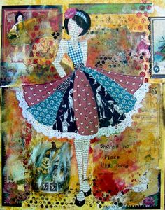 By Julie Nutting Designs Prima Paper Dolls, Prima Doll Stamps, Mixed Media Canvas, Mixed Media Collage, Paper Art, Paper Crafts, Quilting, Art Journal Pages, Art Journals
