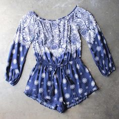 gazing at the stars off the shoulder romper with ruffle hem - shophearts - 1